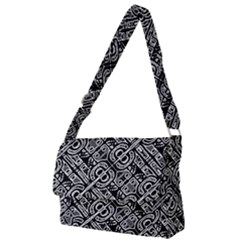 Linear Black And White Ethnic Print Full Print Messenger Bag (l) by dflcprintsclothing