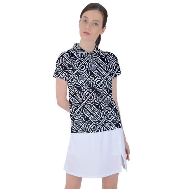 Linear Black And White Ethnic Print Women s Polo Tee