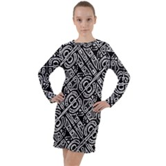 Linear Black And White Ethnic Print Long Sleeve Hoodie Dress by dflcprintsclothing