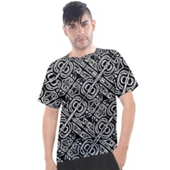 Linear Black And White Ethnic Print Men s Sport Top by dflcprintsclothing