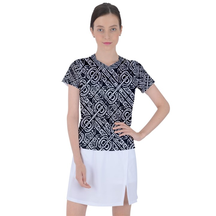 Linear Black And White Ethnic Print Women s Sports Top