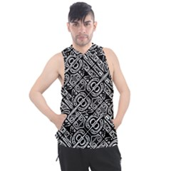 Linear Black And White Ethnic Print Men s Sleeveless Hoodie by dflcprintsclothing
