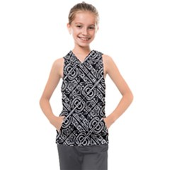 Linear Black And White Ethnic Print Kids  Sleeveless Hoodie by dflcprintsclothing