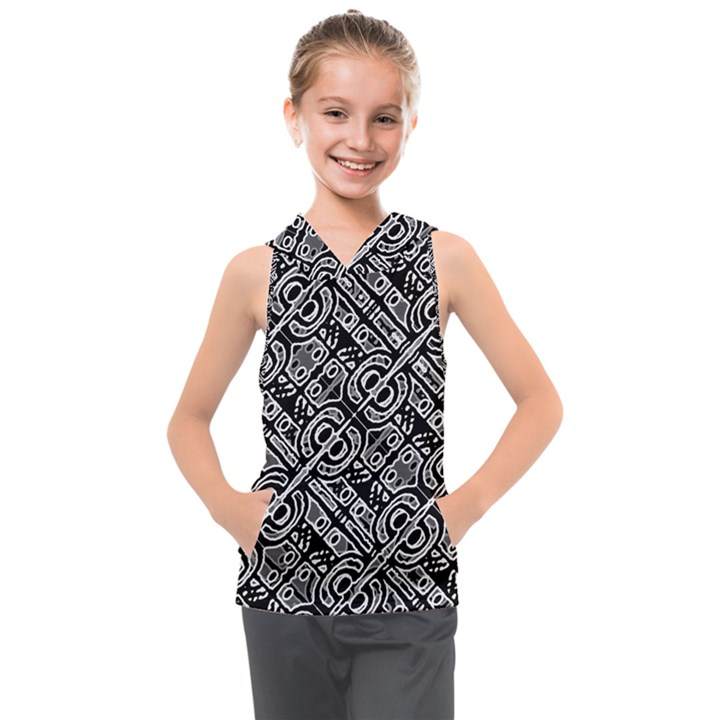Linear Black And White Ethnic Print Kids  Sleeveless Hoodie