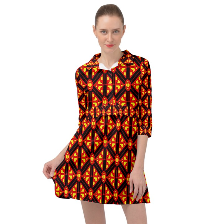 Rby-189 Mini Skater Shirt Dress