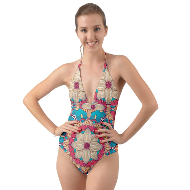 Mandala Halter Cut-Out One Piece Swimsuit