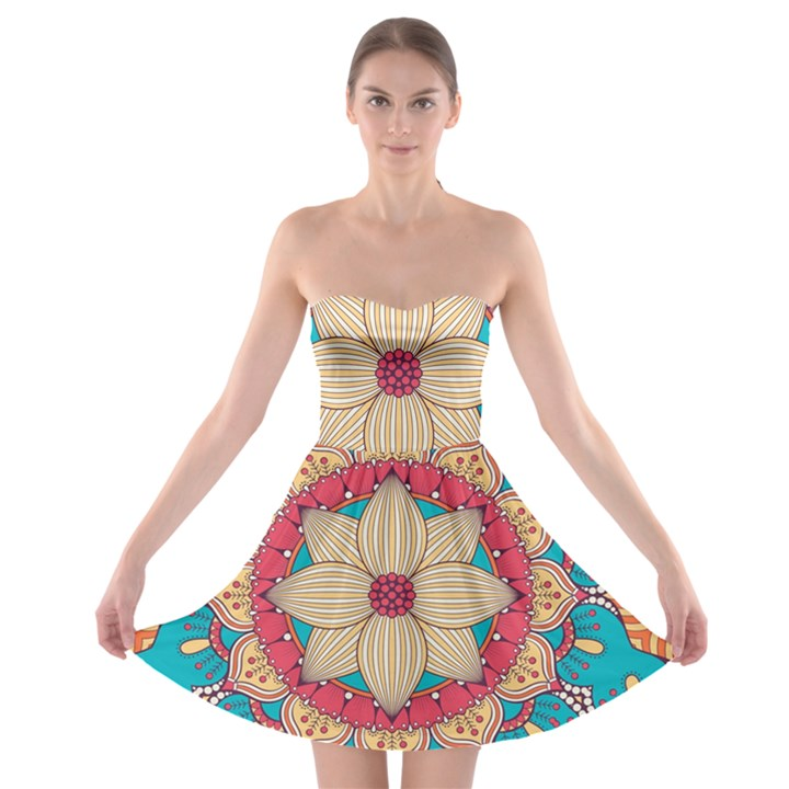 Mandala Strapless Bra Top Dress