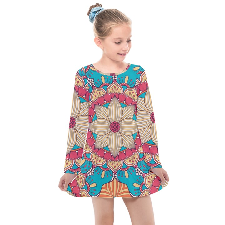 Mandala Kids  Long Sleeve Dress