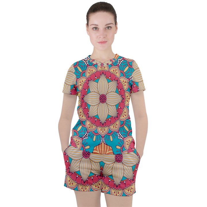 Mandala Women s Tee and Shorts Set