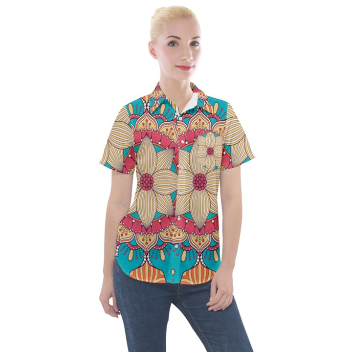 Mandala Women s Short Sleeve Pocket Shirt