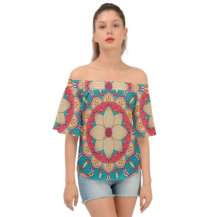 Mandala Off Shoulder Short Sleeve Top
