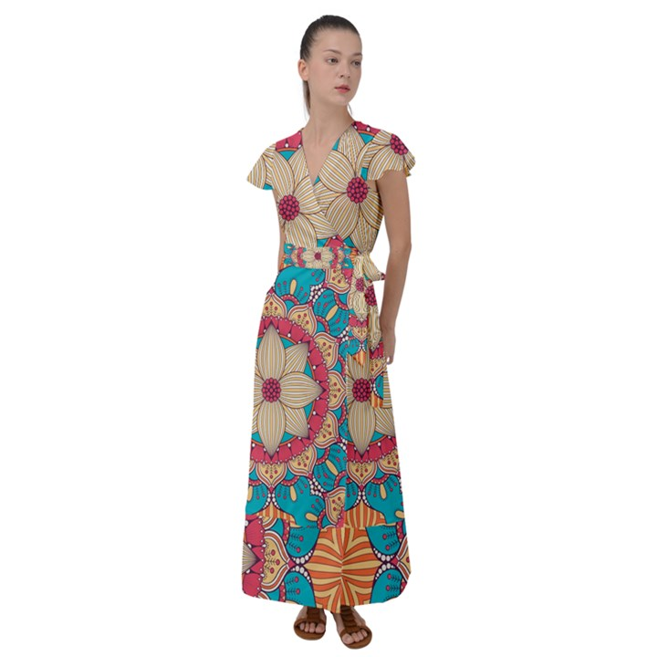 Mandala Flutter Sleeve Maxi Dress