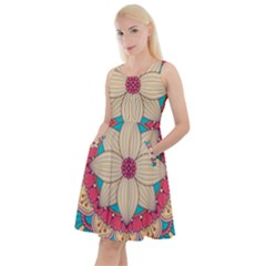 Mandala Knee Length Skater Dress With Pockets
