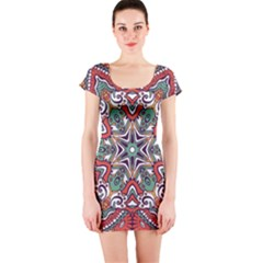 Mandala Short Sleeve Bodycon Dress