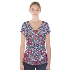 Mandala Short Sleeve Front Detail Top