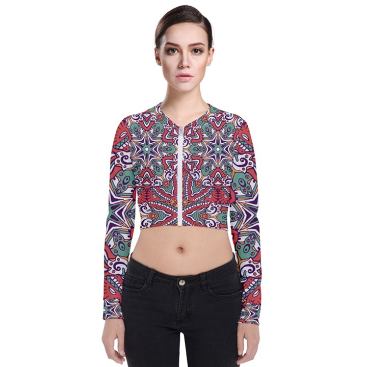Mandala Long Sleeve Zip Up Bomber Jacket
