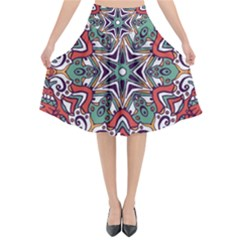 Mandala Flared Midi Skirt
