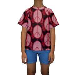 Peace Symbol In Red And Black Kids  Short Sleeve Swimwear