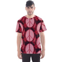Peace Symbol In Red And Black Men s Sport Mesh Tee