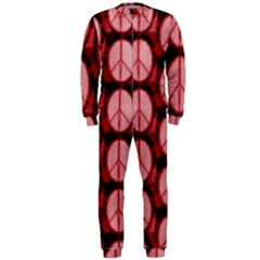 Peace Symbol In Red And Black Onepiece Jumpsuit (men)