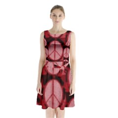 Peace Symbol In Red And Black Sleeveless Waist Tie Chiffon Dress by JanetAudreyWilsonis