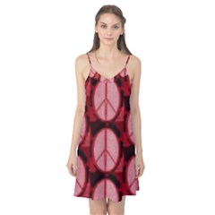 Peace Symbol In Red And Black Camis Nightgown