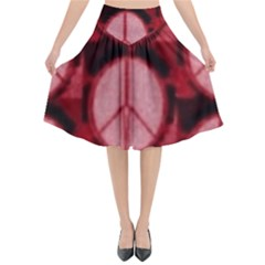 Peace Symbol In Red And Black Flared Midi Skirt