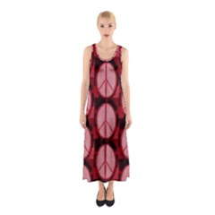 Peace Symbol In Red And Black Sleeveless Maxi Dress