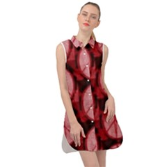 Peace Symbol In Red And Black Sleeveless Shirt Dress