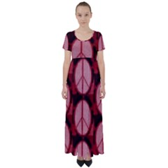 Peace Symbol In Red And Black High Waist Short Sleeve Maxi Dress