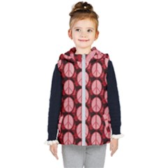Peace Symbol In Red And Black Kids  Hooded Puffer Vest
