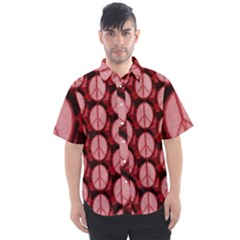 Peace Symbol, In Red And Black Men s Short Sleeve Shirt
