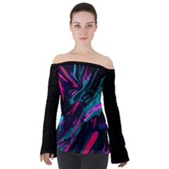 Abstract Colours Off Shoulder Long Sleeve Top by PhoniexLife