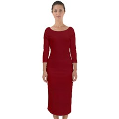 Sacred Red Quarter Sleeve Midi Bodycon Dress