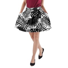 Black And White Tropical Leafs Pattern, Vector Image A-line Pocket Skirt by Casemiro