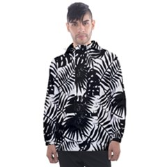 Black And White Tropical Leafs Pattern, Vector Image Men s Front Pocket Pullover Windbreaker by Casemiro