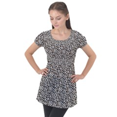 Leopard Spots Pattern, Geometric Dots, Animal Fur Print Puff Sleeve Tunic Top by Casemiro