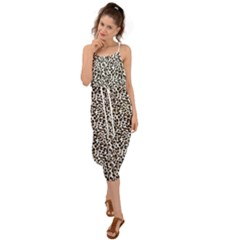 Leopard Spots Pattern, Geometric Dots, Animal Fur Print Waist Tie Cover Up Chiffon Dress