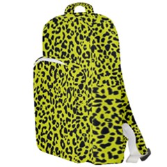 Leopard Spots Pattern, Yellow And Black Animal Fur Print, Wild Cat Theme Double Compartment Backpack by Casemiro