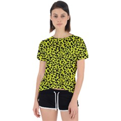 Leopard Spots Pattern, Yellow And Black Animal Fur Print, Wild Cat Theme Open Back Sport Tee