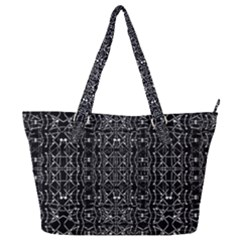 Black And White Ethnic Ornate Pattern Full Print Shoulder Bag by dflcprintsclothing