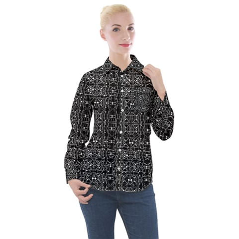 Black And White Ethnic Ornate Pattern Women s Long Sleeve Pocket Shirt by dflcprintsclothing