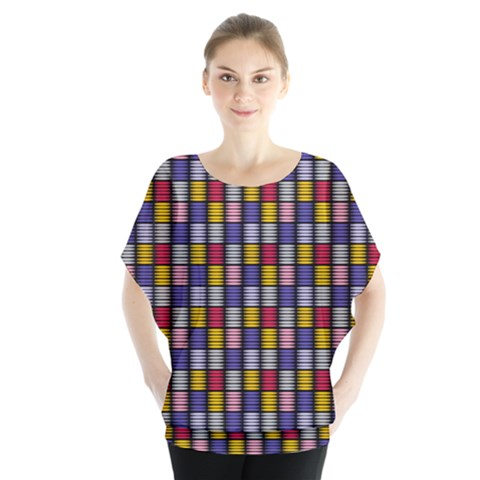 Bandes Formes Colors Batwing Chiffon Blouse by kcreatif