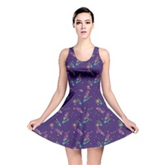 Purple Feathers Reversible Skater Dress by treegold