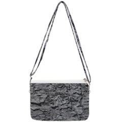 Black And White Texture Print Double Gusset Crossbody Bag