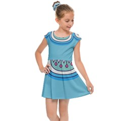 Blue Mandala Kids  Cap Sleeve Dress