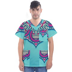 Blue Mandala Men s V-neck Scrub Top