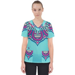 Blue Mandala Women s V-neck Scrub Top