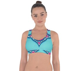 Blue Mandala Cross String Back Sports Bra