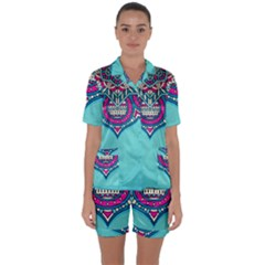 Blue Mandala Satin Short Sleeve Pyjamas Set